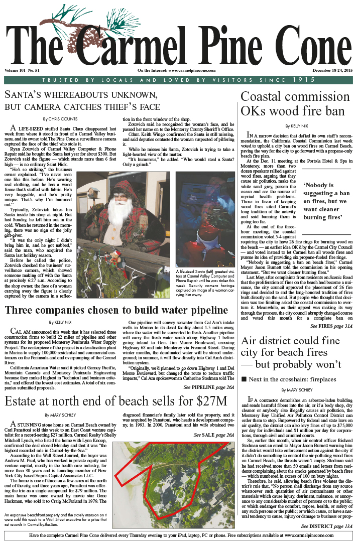 The December 18, 2015, front page of The Carmel                 Pine Cone