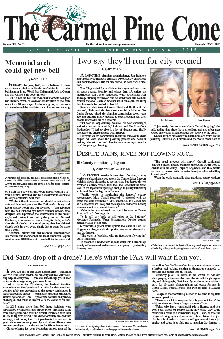 The December 25, 2015, front page of The Carmel                 Pine Cone