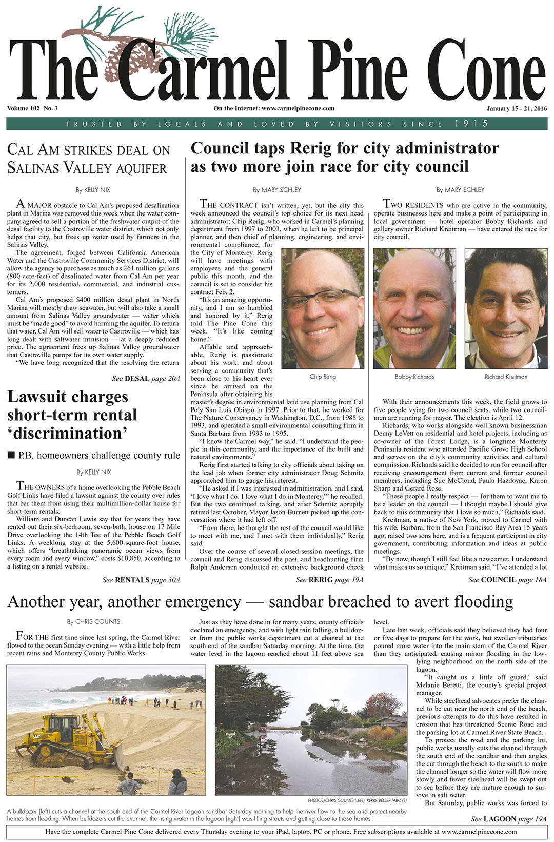 The January 15, 2016, front page of The Carmel Pine                 Cone