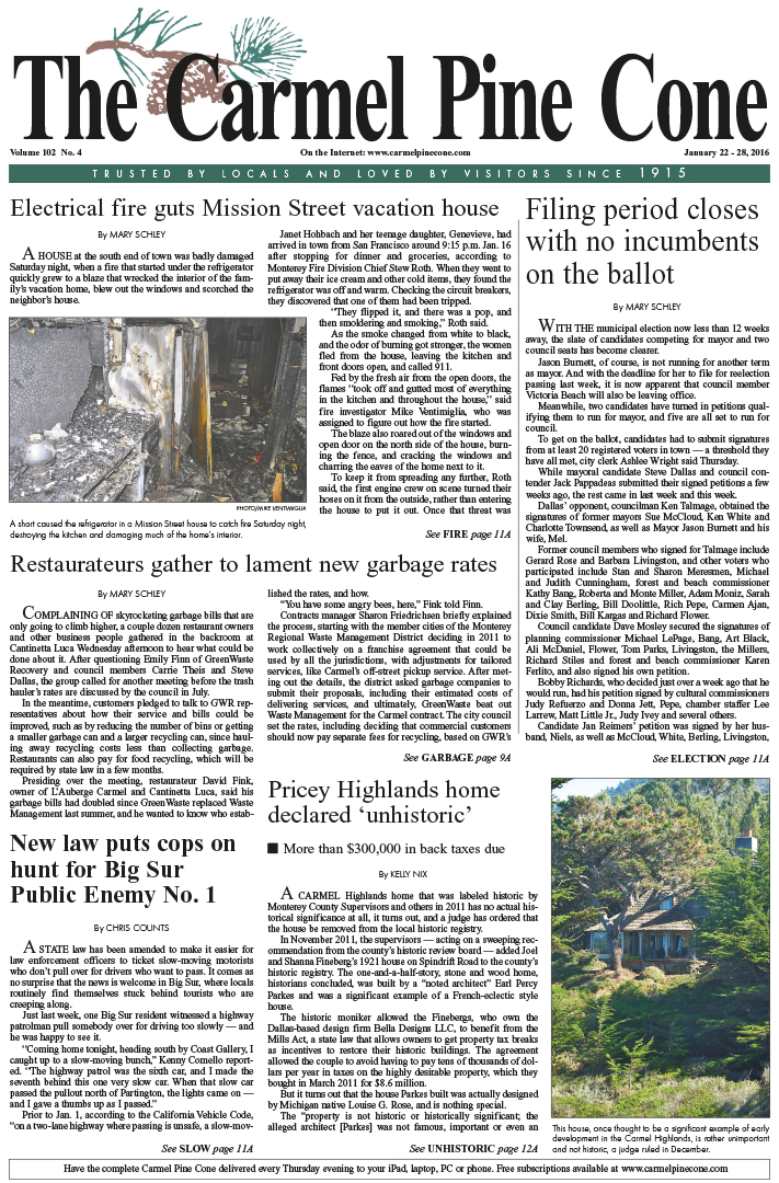 The January 22, 2016, front page of The Carmel Pine                 Cone