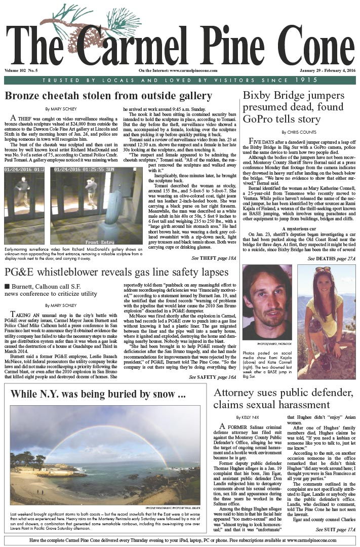 The January 29, 2016, front page of The Carmel Pine                 Cone
