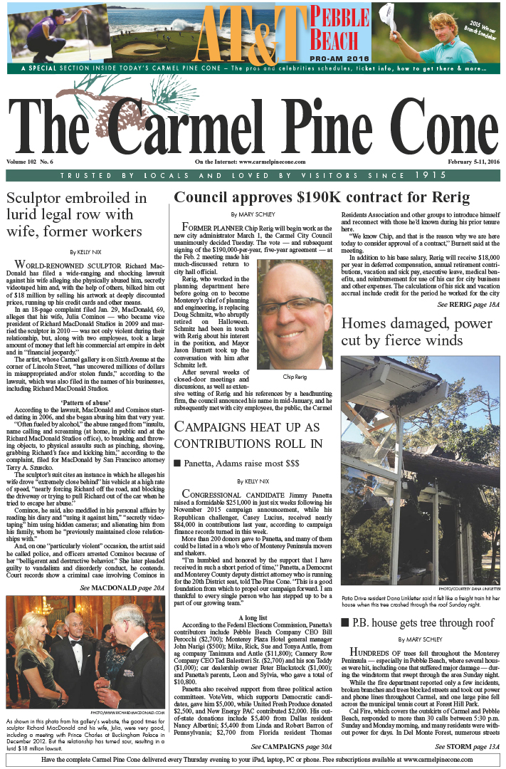 The February 5, 2016, front page of The Carmel Pine                 Cone