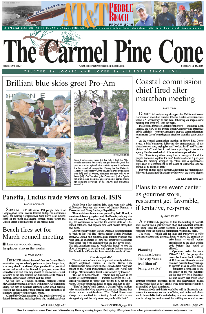 The February 12, 2016, front page of The Carmel                 Pine Cone