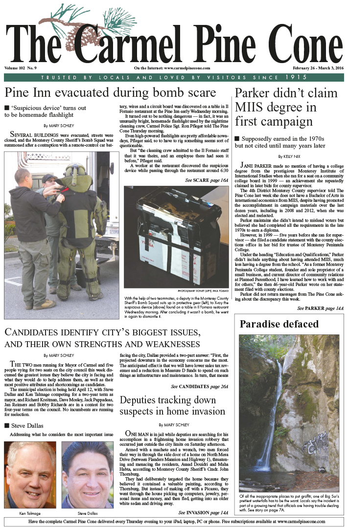 The February 26, 2016, front page of The Carmel                 Pine Cone