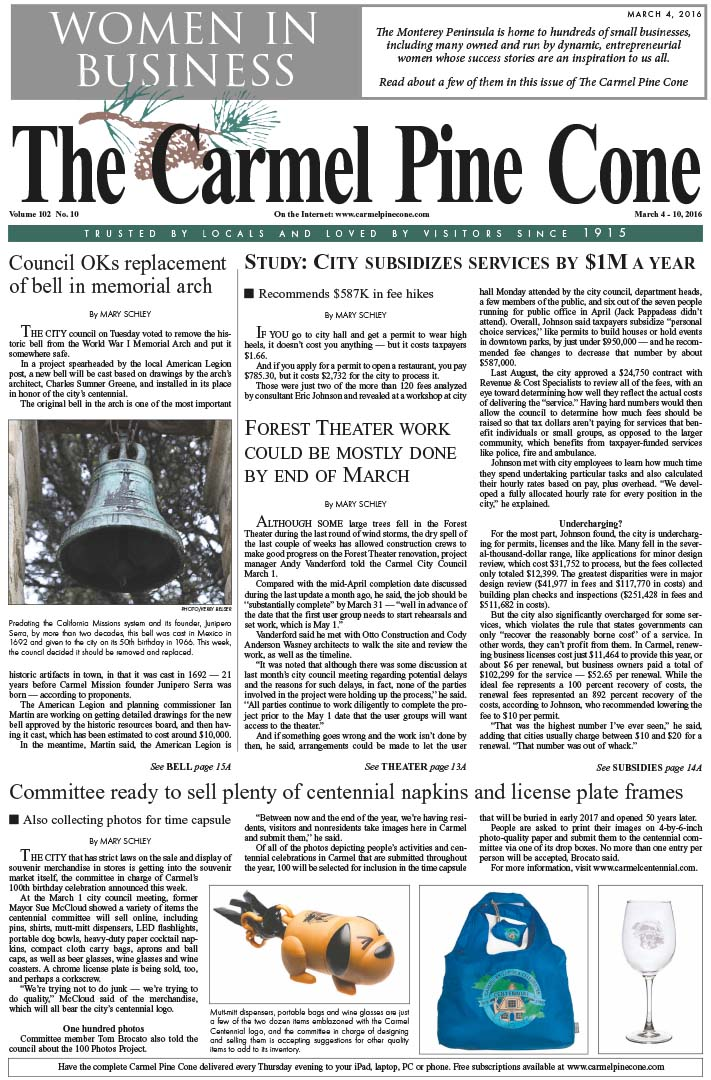 The March 4, 2016, front page of The Carmel Pine                 Cone
