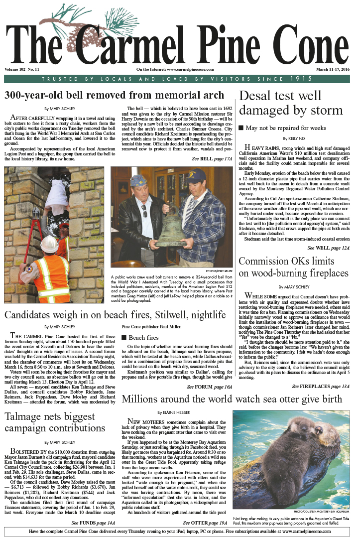 The March 11, 2016, front page of The Carmel Pine                 Cone