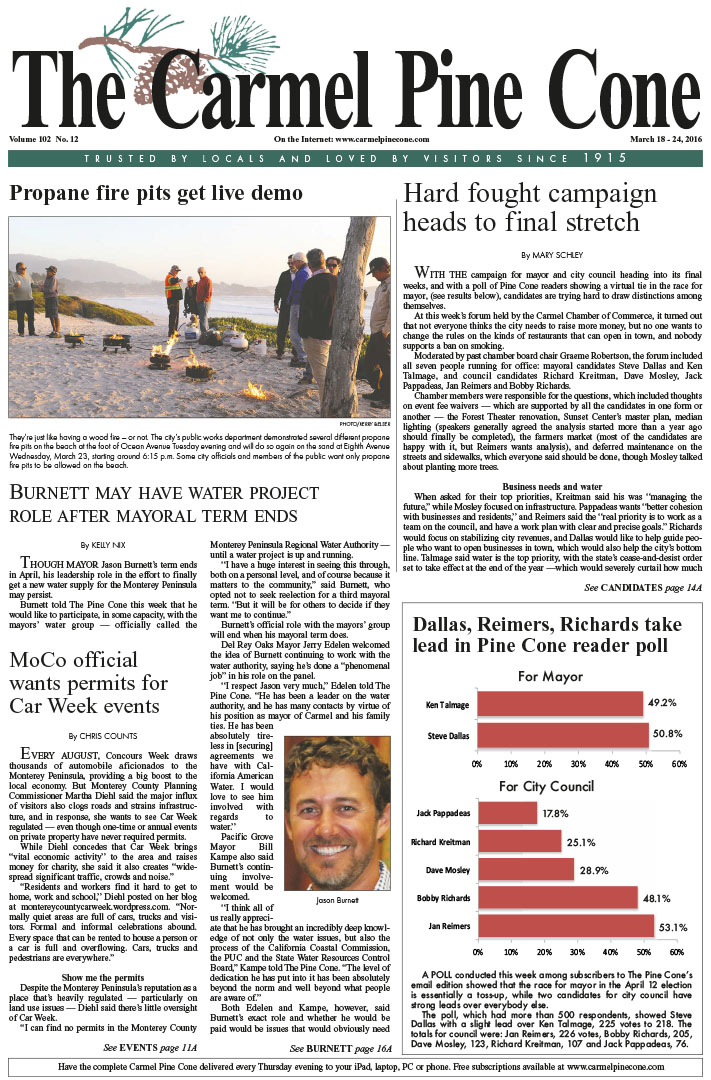 The March 18, 2016, front page of The Carmel Pine                 Cone