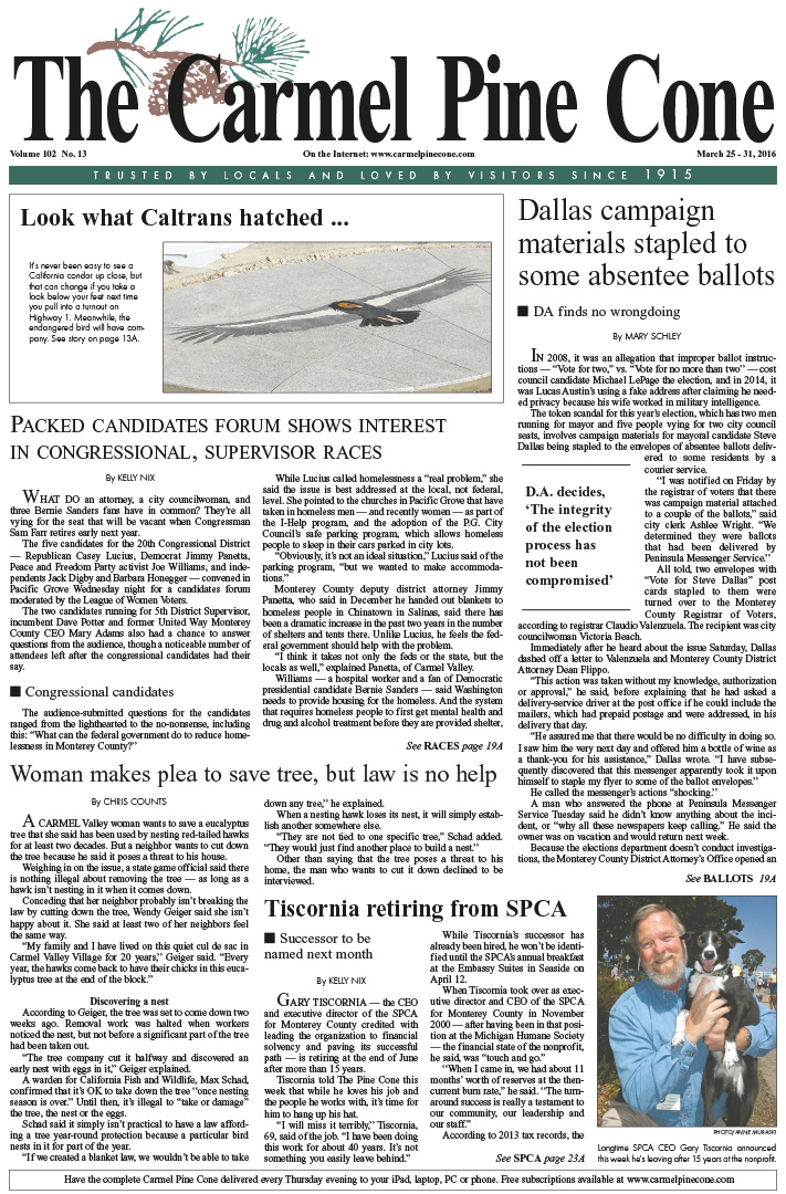 The March 25, 2016, front page of The Carmel Pine                 Cone