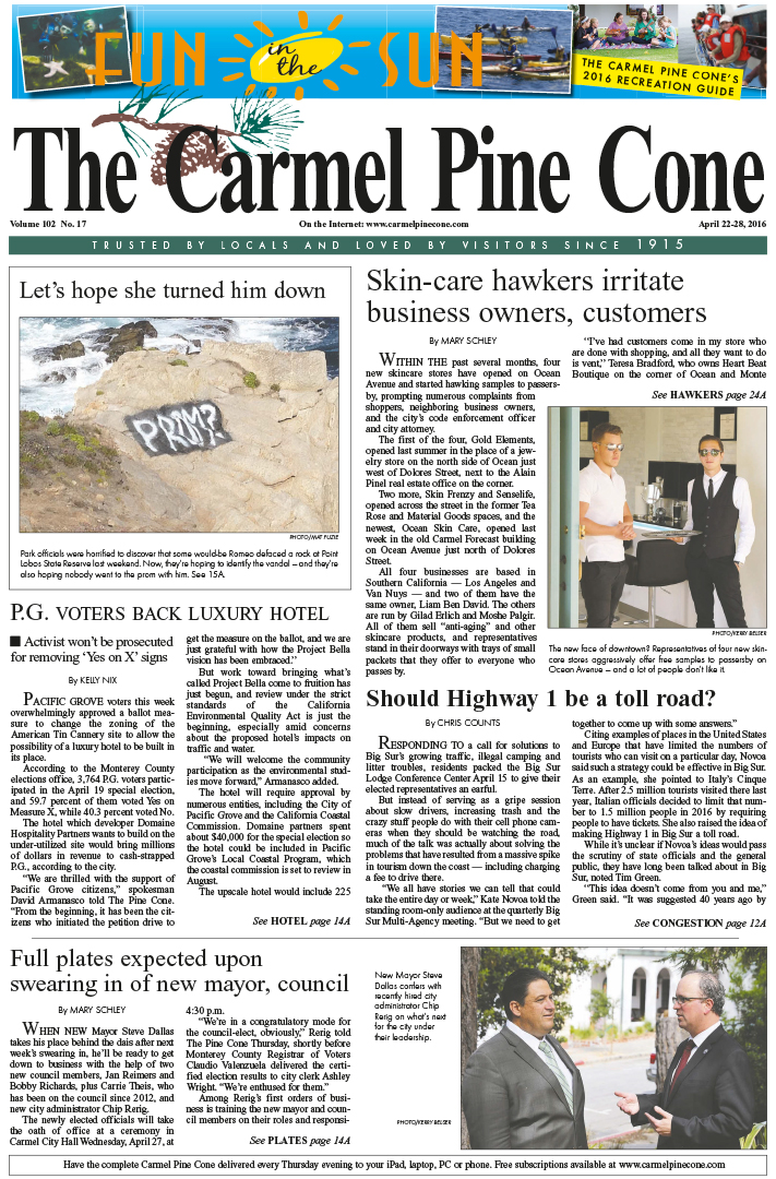 The April 22, 2016, front page of The Carmel Pine                 Cone
