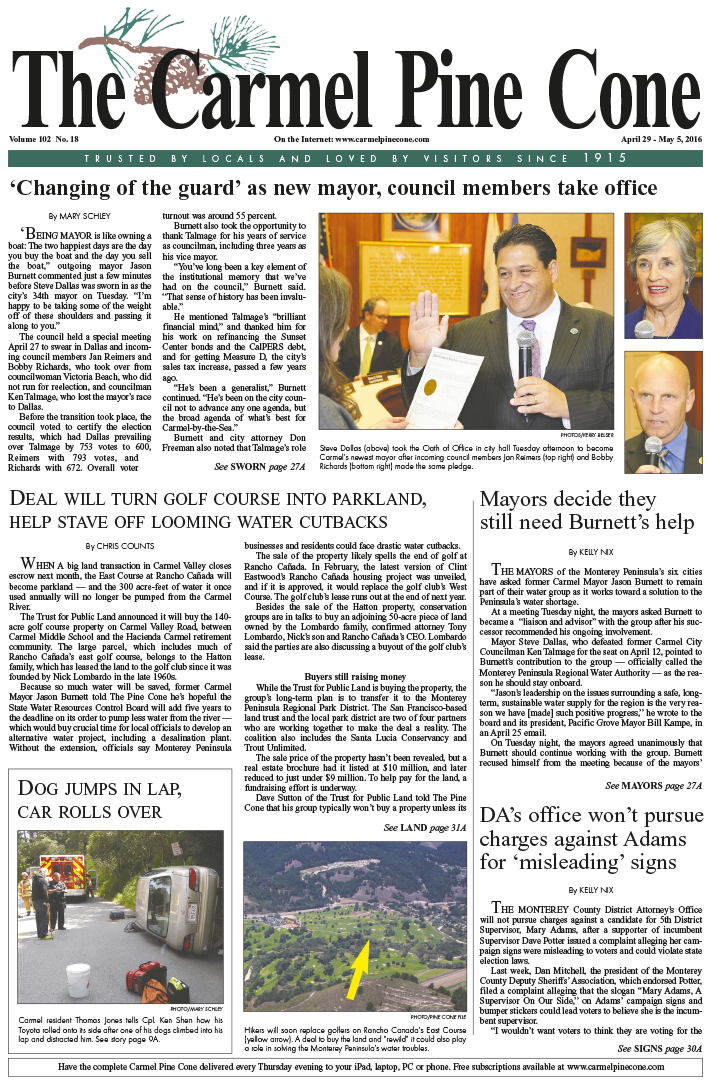 The April 29, 2016, front page of The Carmel Pine                 Cone