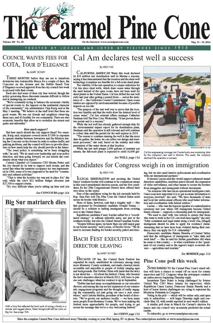 The May 13, 2016, front page of The Carmel Pine                 Cone