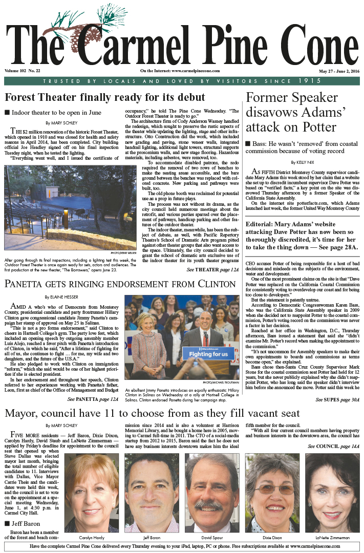 The May 27, 2016, front page of The Carmel Pine                 Cone