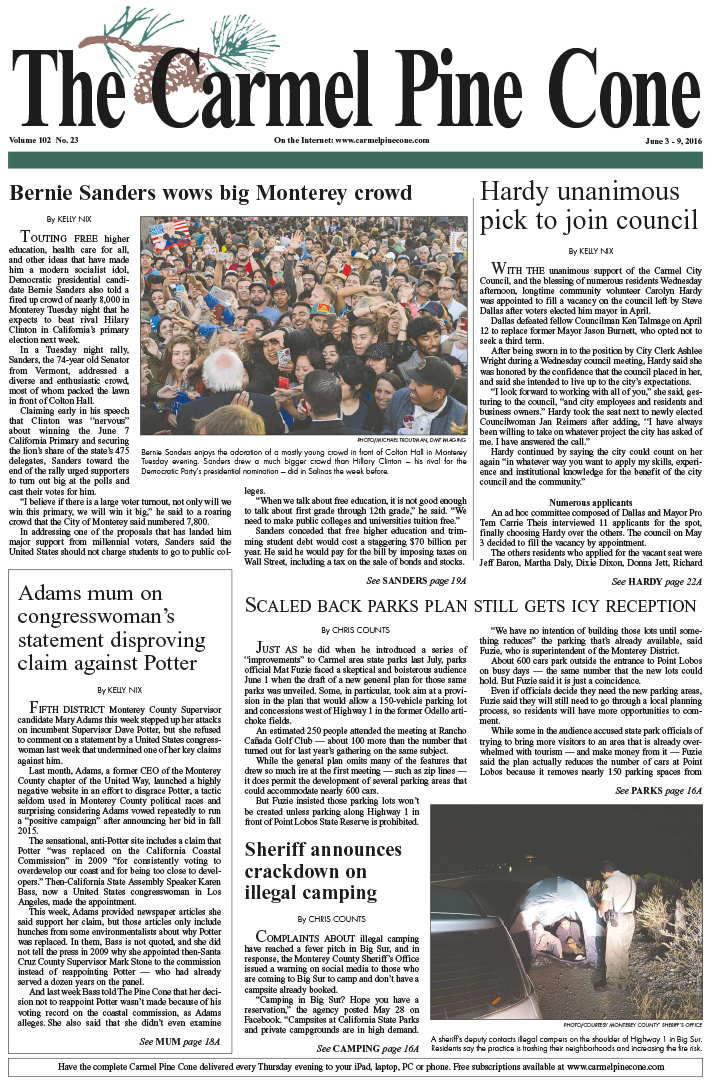 The June 3, 2016, front page of The Carmel Pine                 Cone