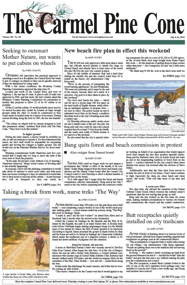 The July 8, 2016, front page of The Carmel Pine                 Cone