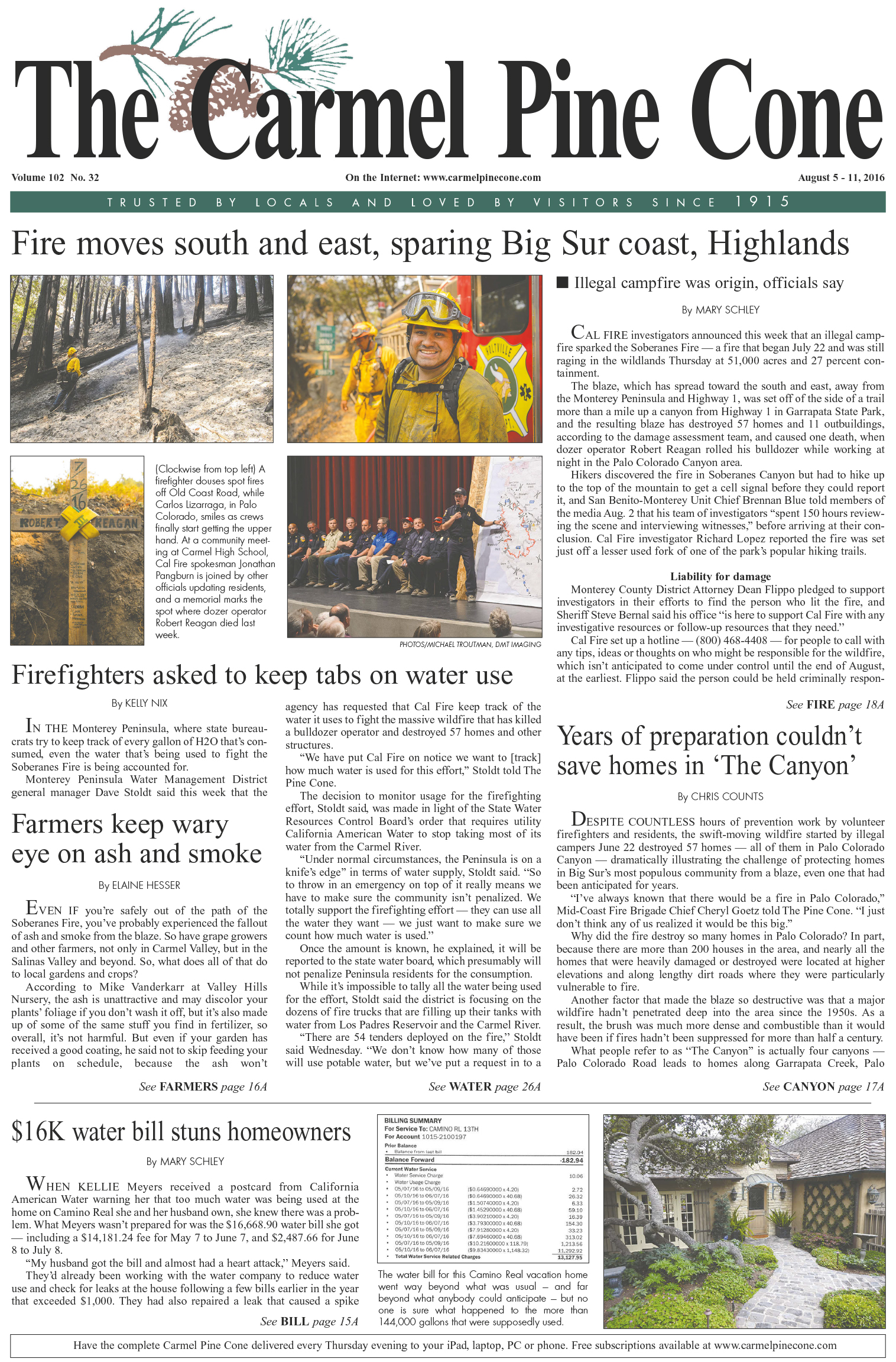 The August 5, 2016, front page of The Carmel Pine                 Cone