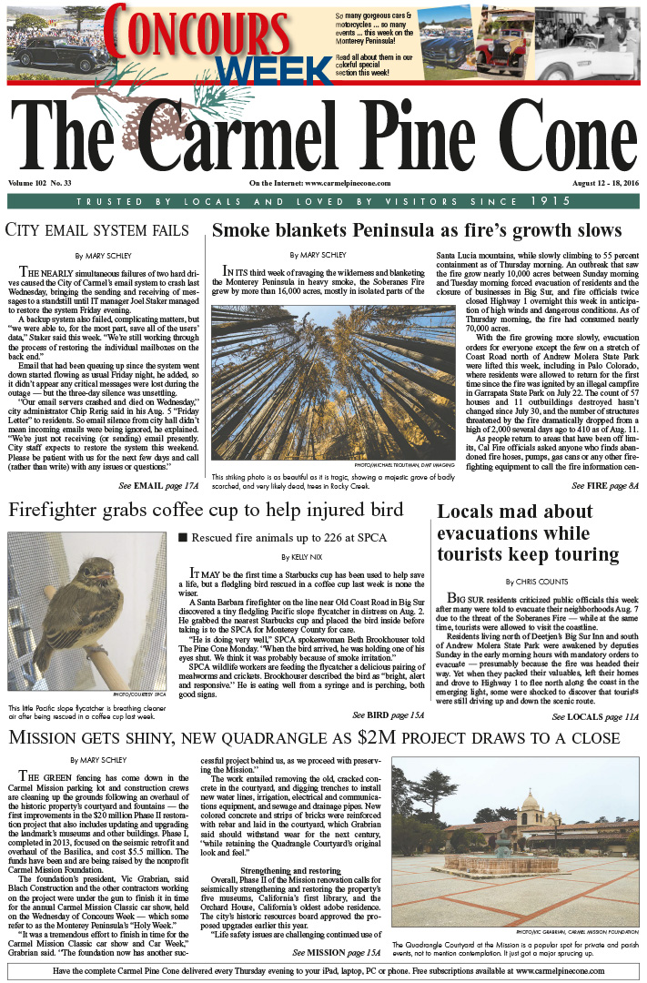 The August 12, 2016, front page of The Carmel Pine                 Cone