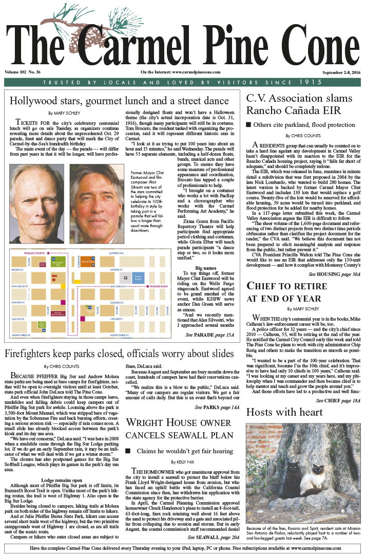 The                 September 2, 2016, front page of The Carmel Pine Cone