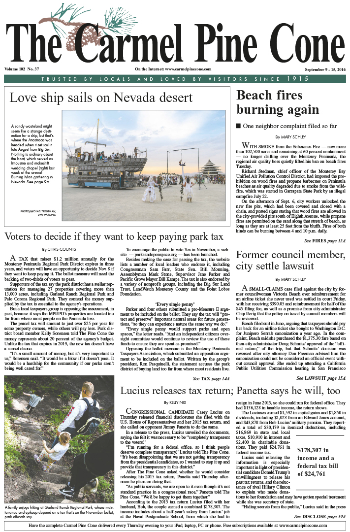 The                 September 9, 2016, front page of The Carmel Pine Cone