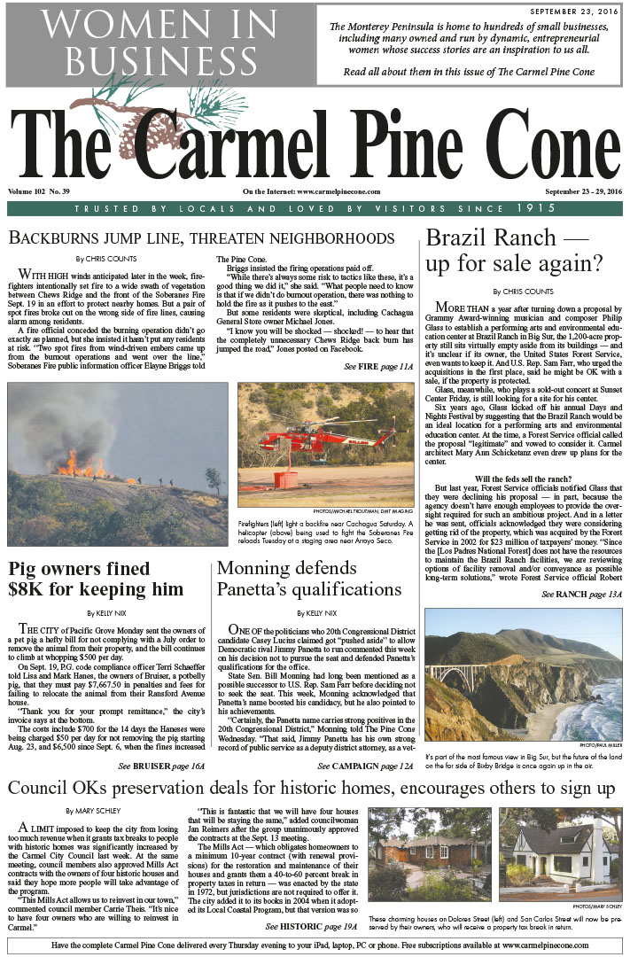 The                 September 23, 2016, front page of The Carmel Pine Cone