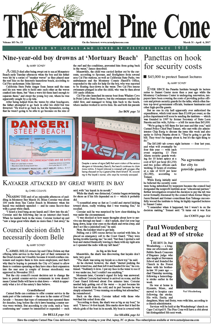 The March                 31, 2017, front page of The Carmel Pine Cone