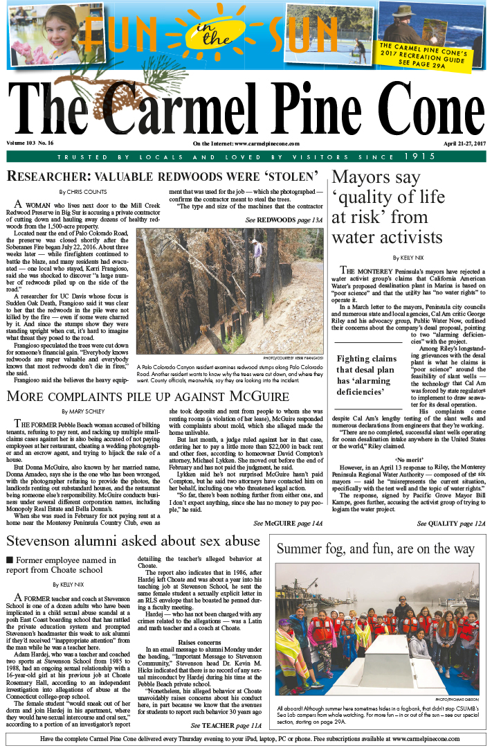 The April                 21, 2017, front page of The Carmel Pine Cone