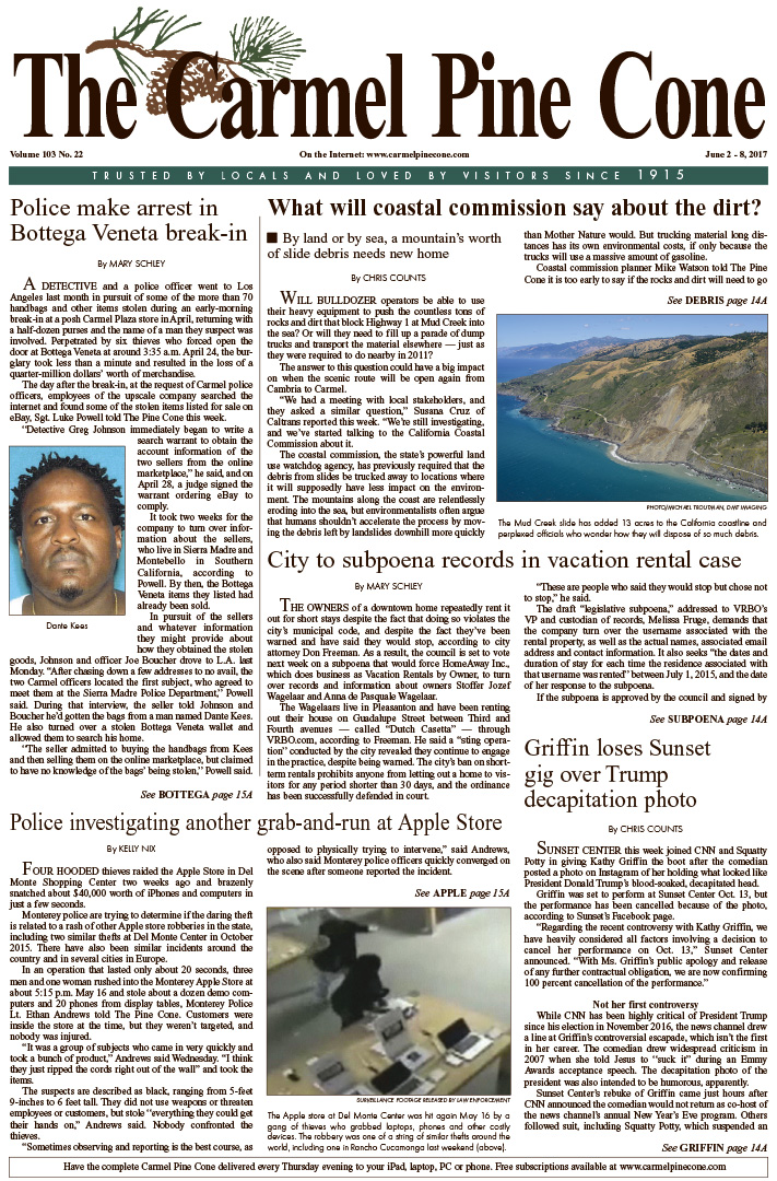 The June                 2, 2017, front page of The Carmel Pine Cone