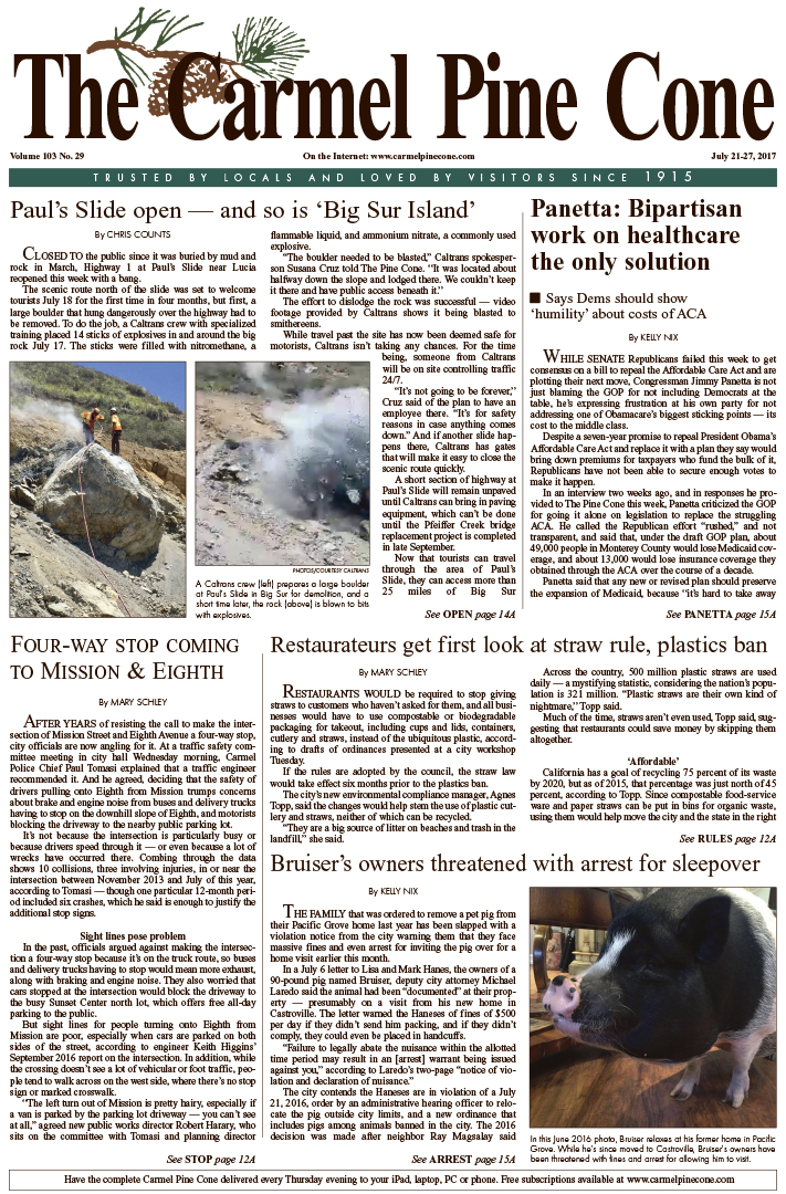 The July                 21, 2017, front page of The Carmel Pine Cone