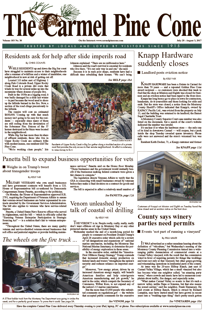 The July                 28, 2017, front page of The Carmel Pine Cone