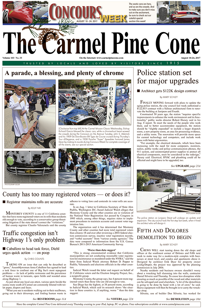 The                 August 18, 2017, front page of The Carmel Pine Cone