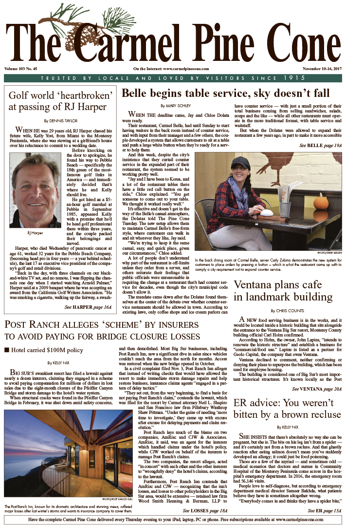 The                 November 10, 2017, front page of The Carmel Pine Cone