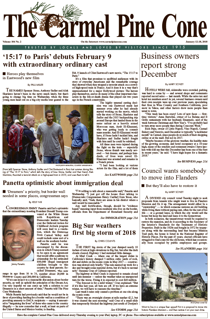 The                 January 12, 2018, front page of The Carmel Pine Cone