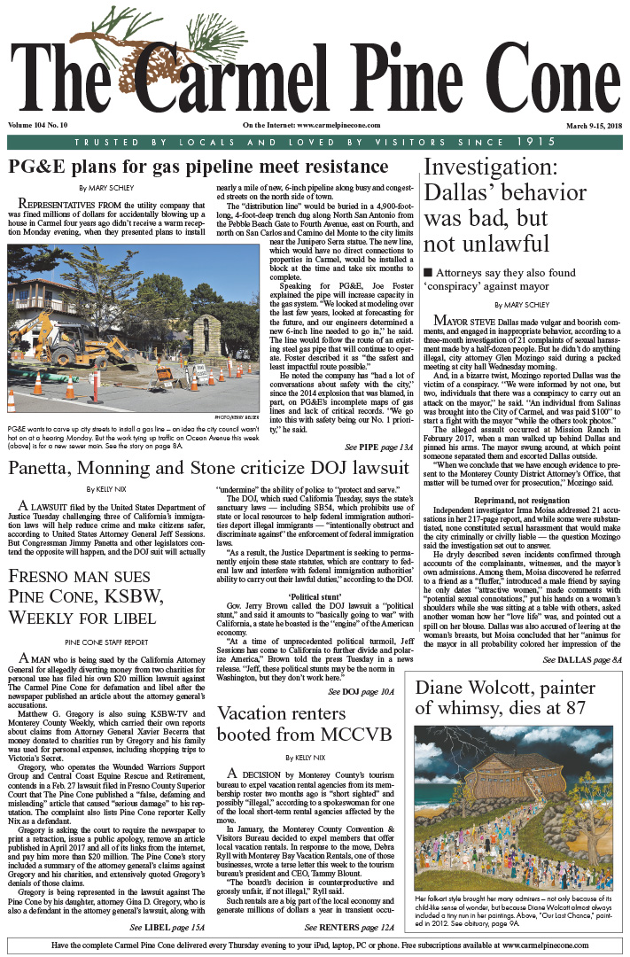The March                 9, 2018, front page of The Carmel Pine Cone