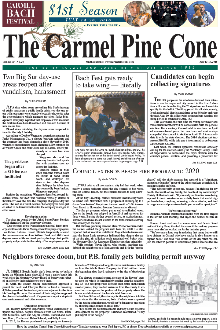 The June                 13, 2018, front page of The Carmel Pine Cone