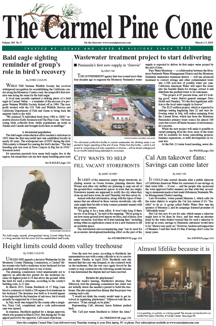 72971441591b The March 1, 2019, front page of The Carmel Pine Cone