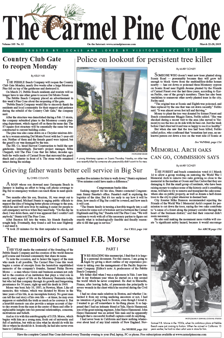 cc9c04eb1070 The March 22, 2019, front page of The Carmel Pine Cone