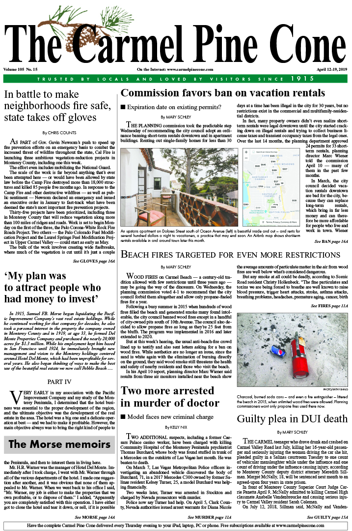The April                 12, 2019, front page of The Carmel Pine Cone