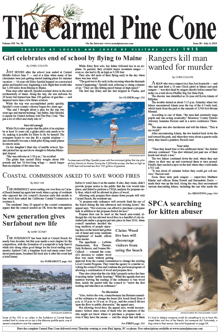 The June                 28, 2019, front page of The Carmel Pine Cone
