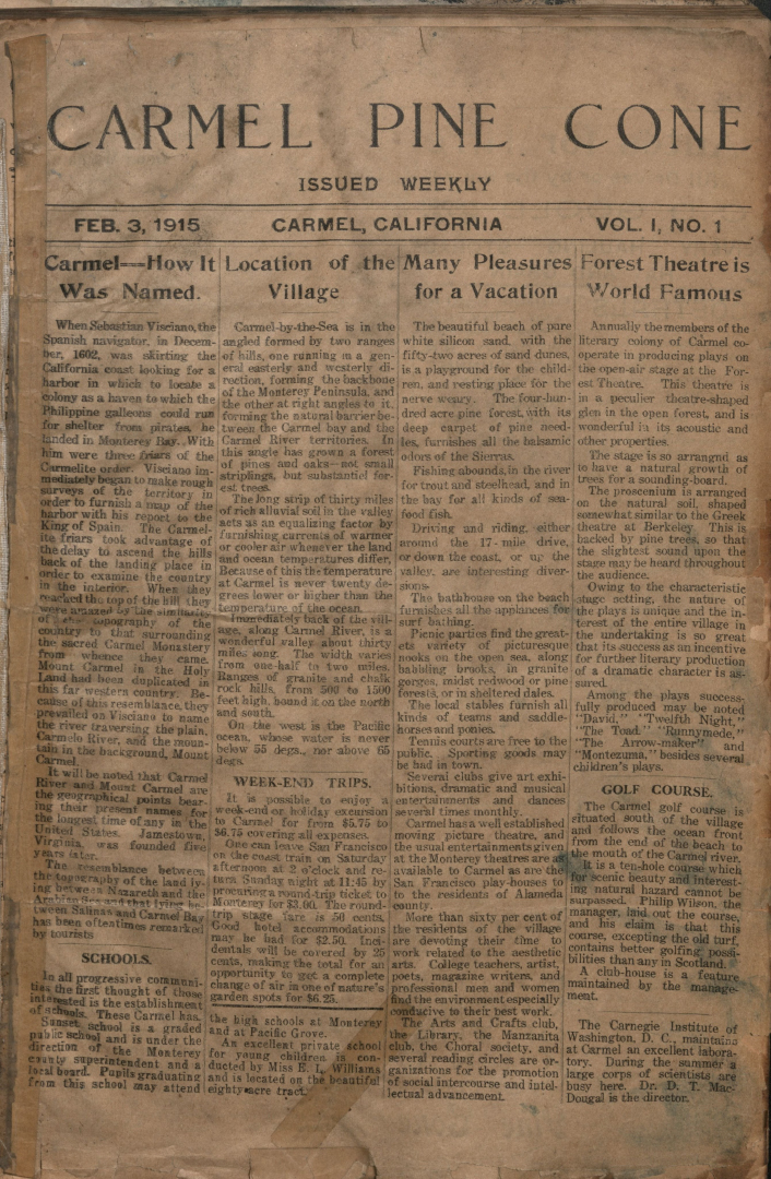 front page of the                 February 3, 1915, Carmel Pine Cone