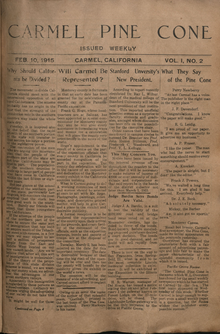 front page of the                 February 10, 1915, Carmel Pine Cone