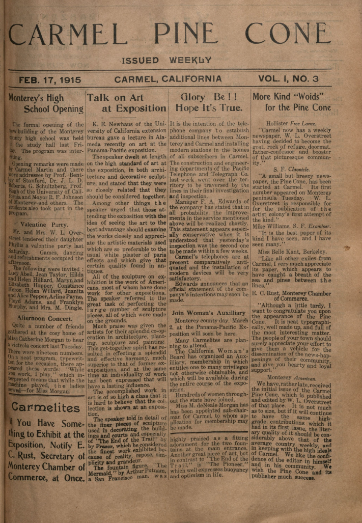 front page of the                 February 17, 1915, Carmel Pine Cone