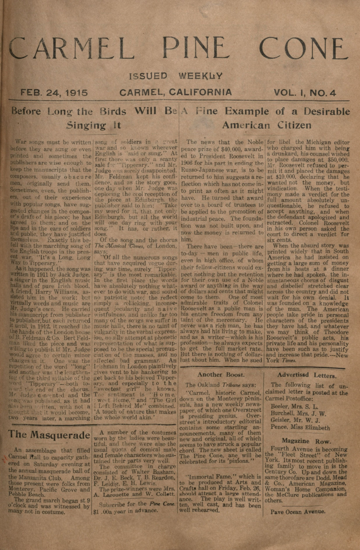 front page of the                 February 24, 1915, Carmel Pine Cone