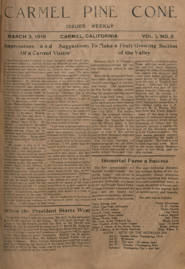 front page of the March                 3, 1915, Carmel Pine Cone