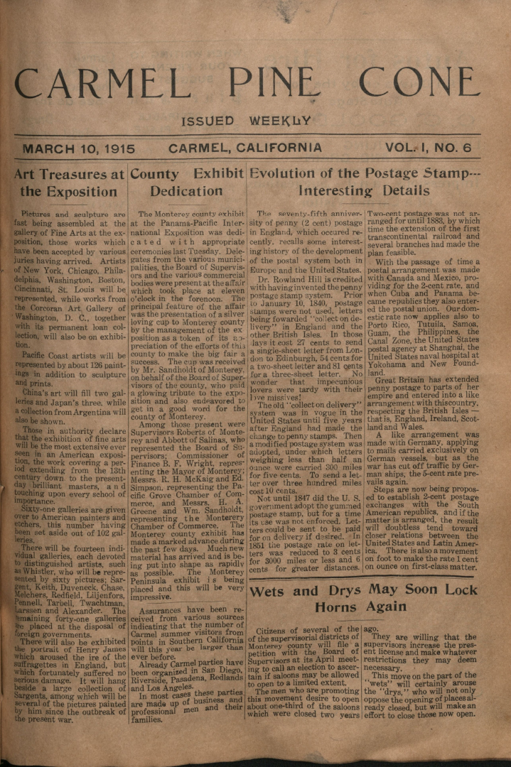 front page of the                 March 10, 1915, Carmel Pine Cone