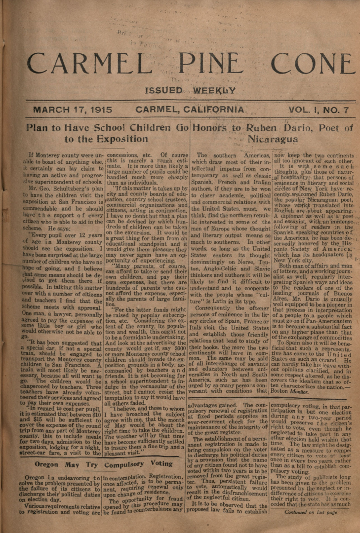 front page of the                 March 17, 1915, Carmel Pine Cone