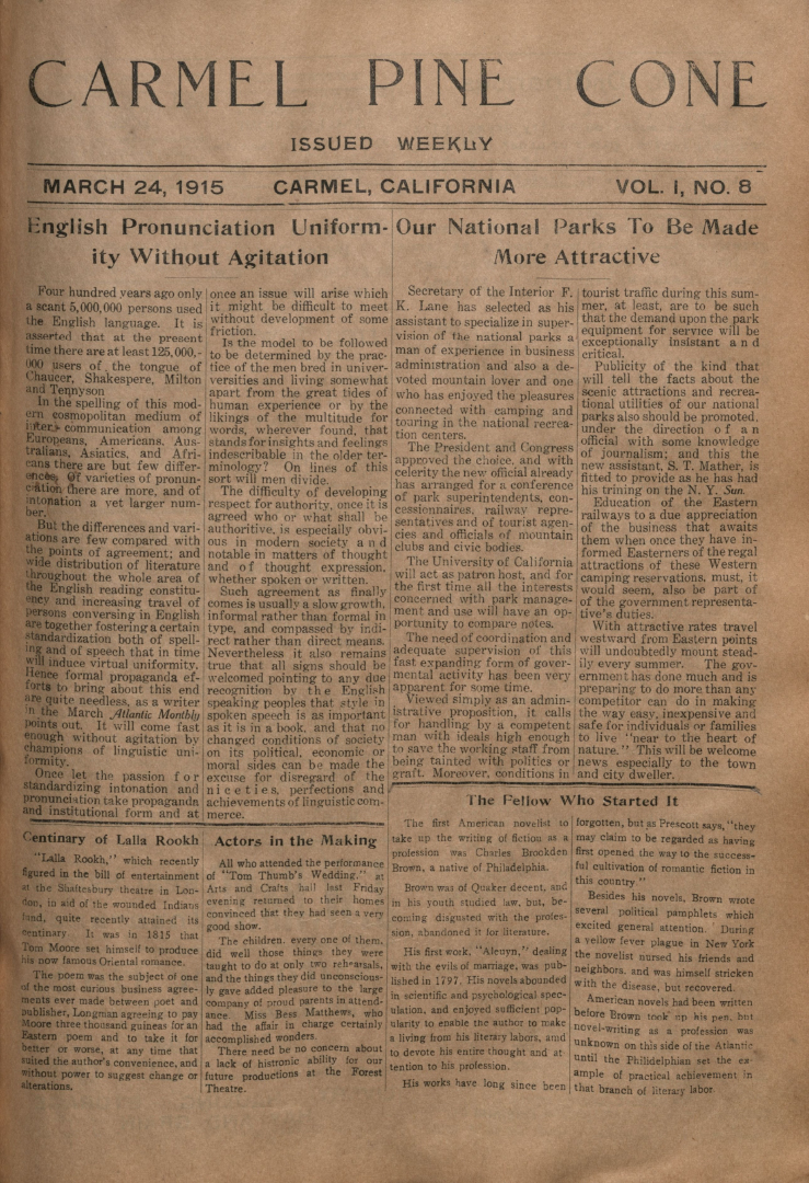 front page of the                 March 24, 1915, Carmel Pine Cone