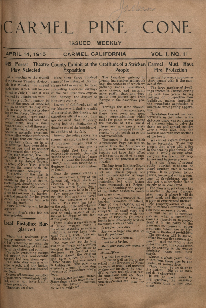 Front page of the                 April 14, 1915, Carmel Pine Cone