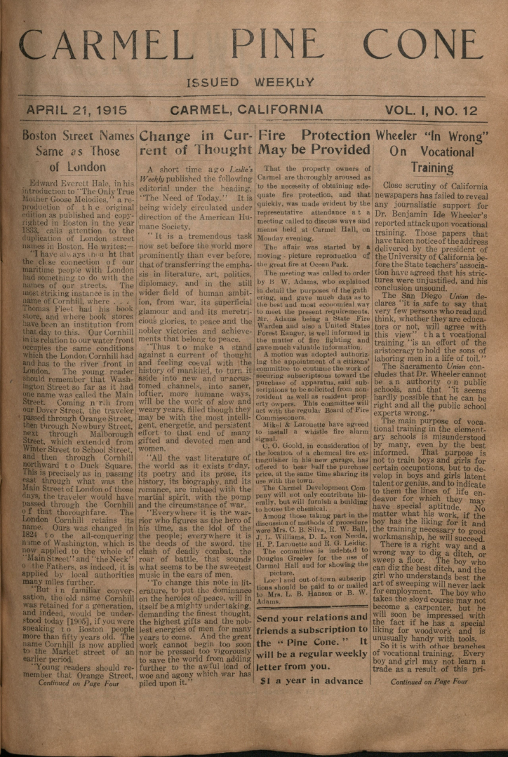 Front page of the                 April 21, 1915, Carmel Pine Cone