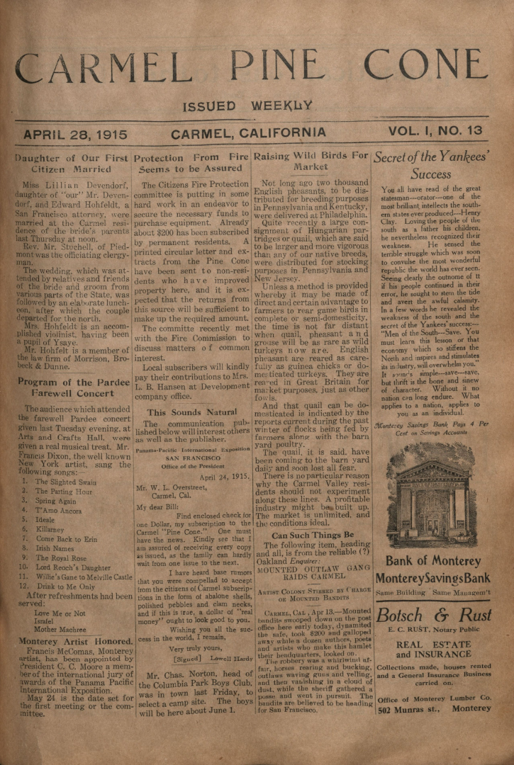 Front page of the                 April 28, 1915, Carmel Pine Cone