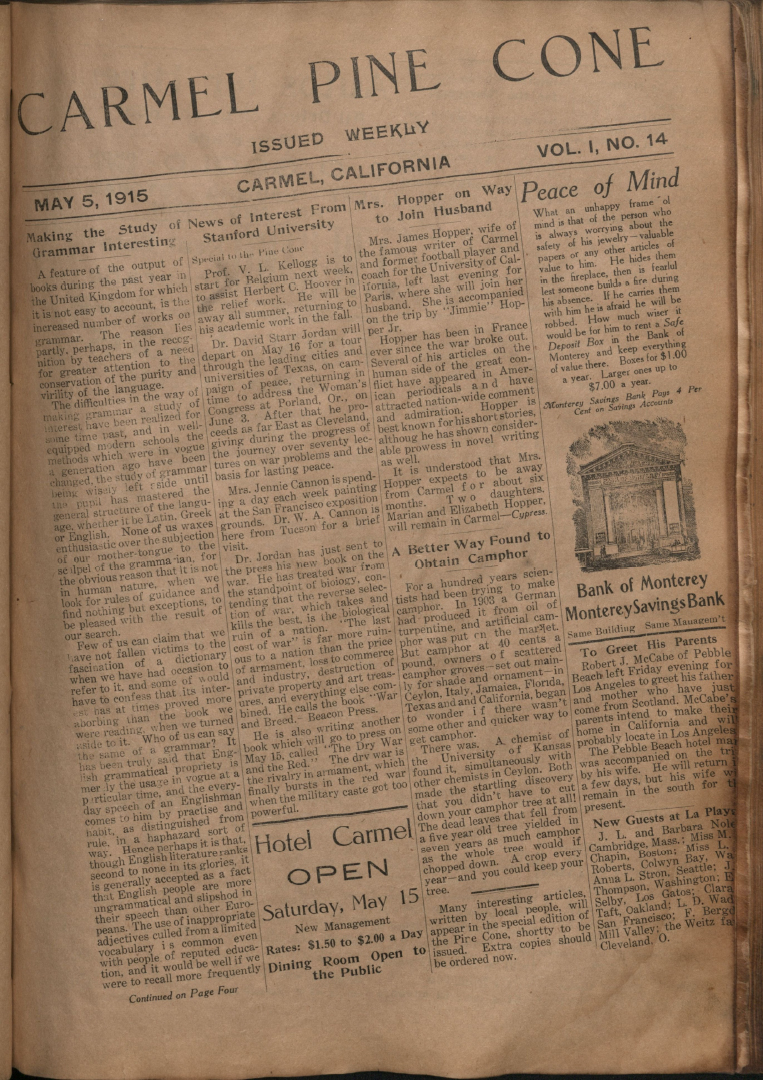 Front page of the May                 5, 1915, Carmel Pine Cone