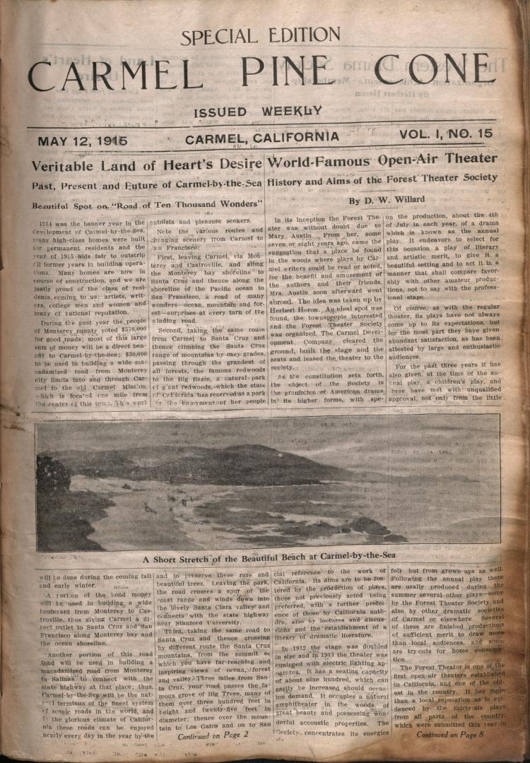 Front page of the May                 12, 1915, Carmel Pine Cone